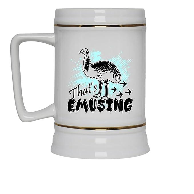 Emu White Beer Mug   Emu Beer Stein Ceramic Cool Design Gift For Friend,  Family
