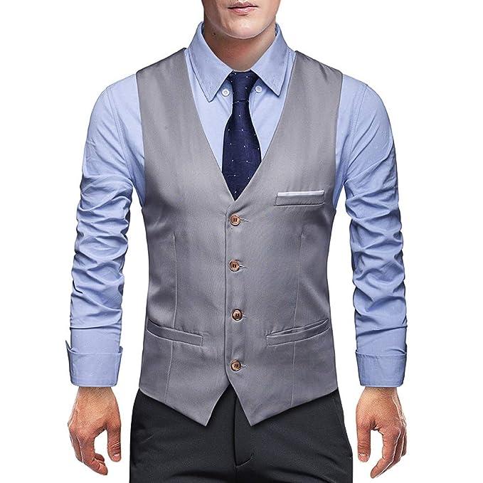 Amazon.com: Chaleco para hombre con cuello en V y bolsillo ...