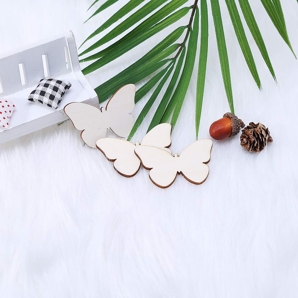 TY-LOPIU 25pcs Laser Cut Wood Butterfly Embellishment Wooden Shape Craft Wedding Decor
