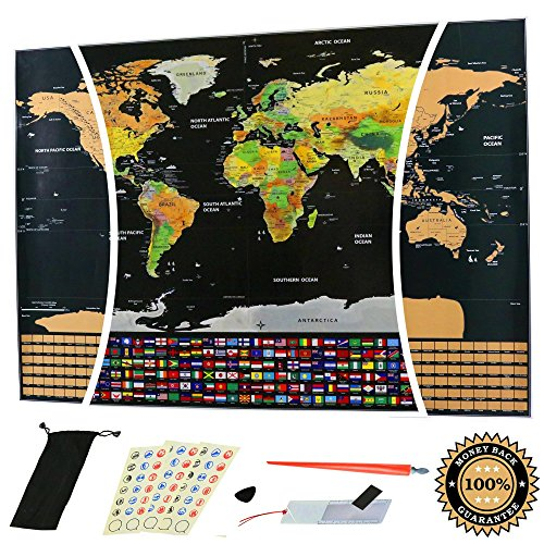 Scratch Off World Map with Outlined US States and Country Flags - Large Size 32.5'' x 23.5'' - Travel Tracker Poster - Gold & Black - Accessories Include: Scratch Tool, Magnifier, Memory Stickers & more by Flores Ecom