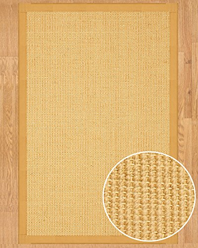 (NaturalAreaRugs Majesty Wool/Sisal Area Rug, Handmade in USA, 53% Wool and 47% Sisal, Non-Slip Latex Backing, Durable, Stain Resistant, Eco/Environment-Friendly, (2 Feet 6 Inches x 8 Feet) Fudge Border)