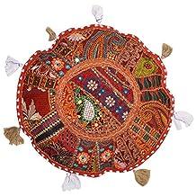 Round Floor Pillow Cushion Bohemian Patchwork Pouf Ottoman Vintage Indian Foot Stool Bean Bag Floor Pillow Cover Home Decor, Living Room Ottoman, Bohemain Pillows 18 Inch