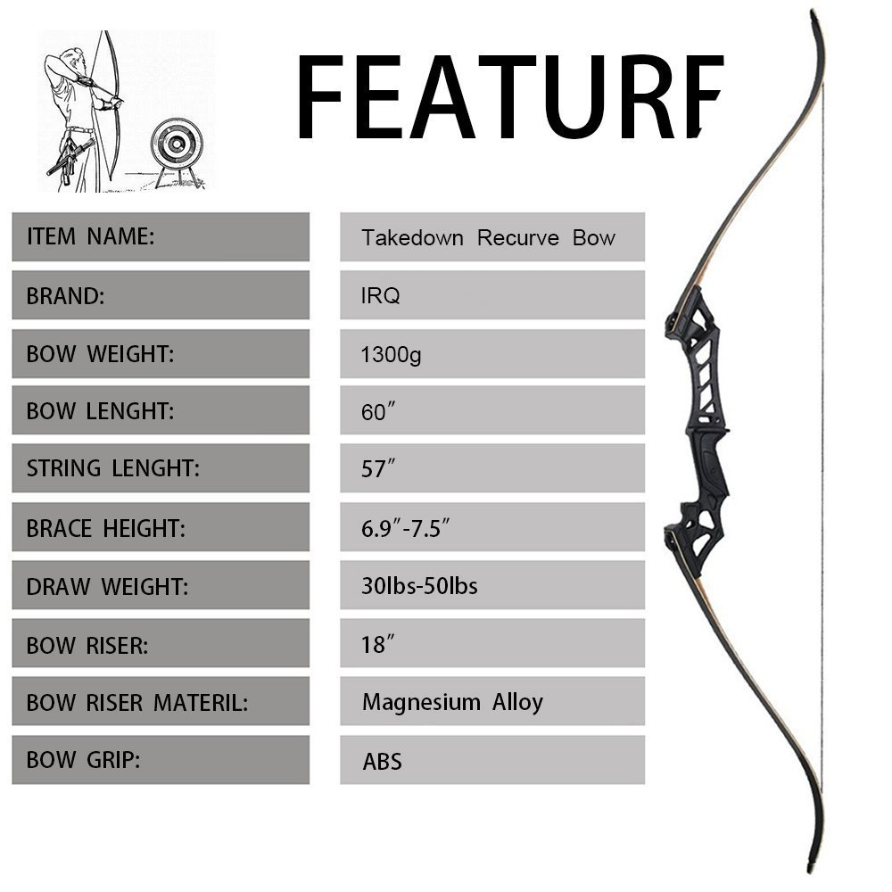 50lbs Takedown Recurve Bow Hunting Arrows Sets Target Right Handed Sports