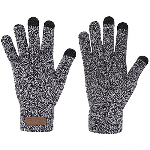 (Winter Touchscreen Knit Gloves Thick Fleece Lined Mittens for Phone Women)