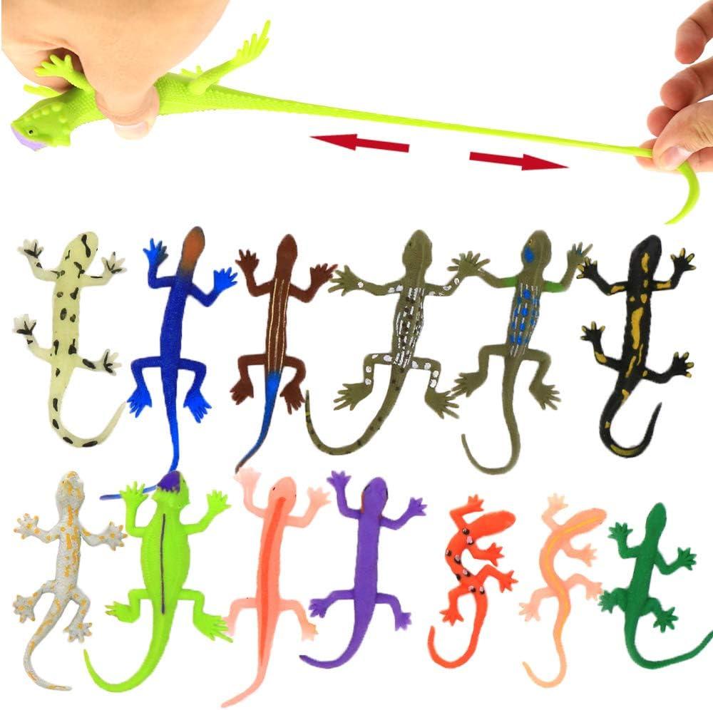 Lizards Toys,8 Piece Mini Rubber Lizard Set,Food Grade Material TPR Super Stretchy,with Learning Study Card Gift Bag-Realistic Lizard Figure Bathtub Squishy Toy-Gecko Iguana Chameleon Komodo Dragon