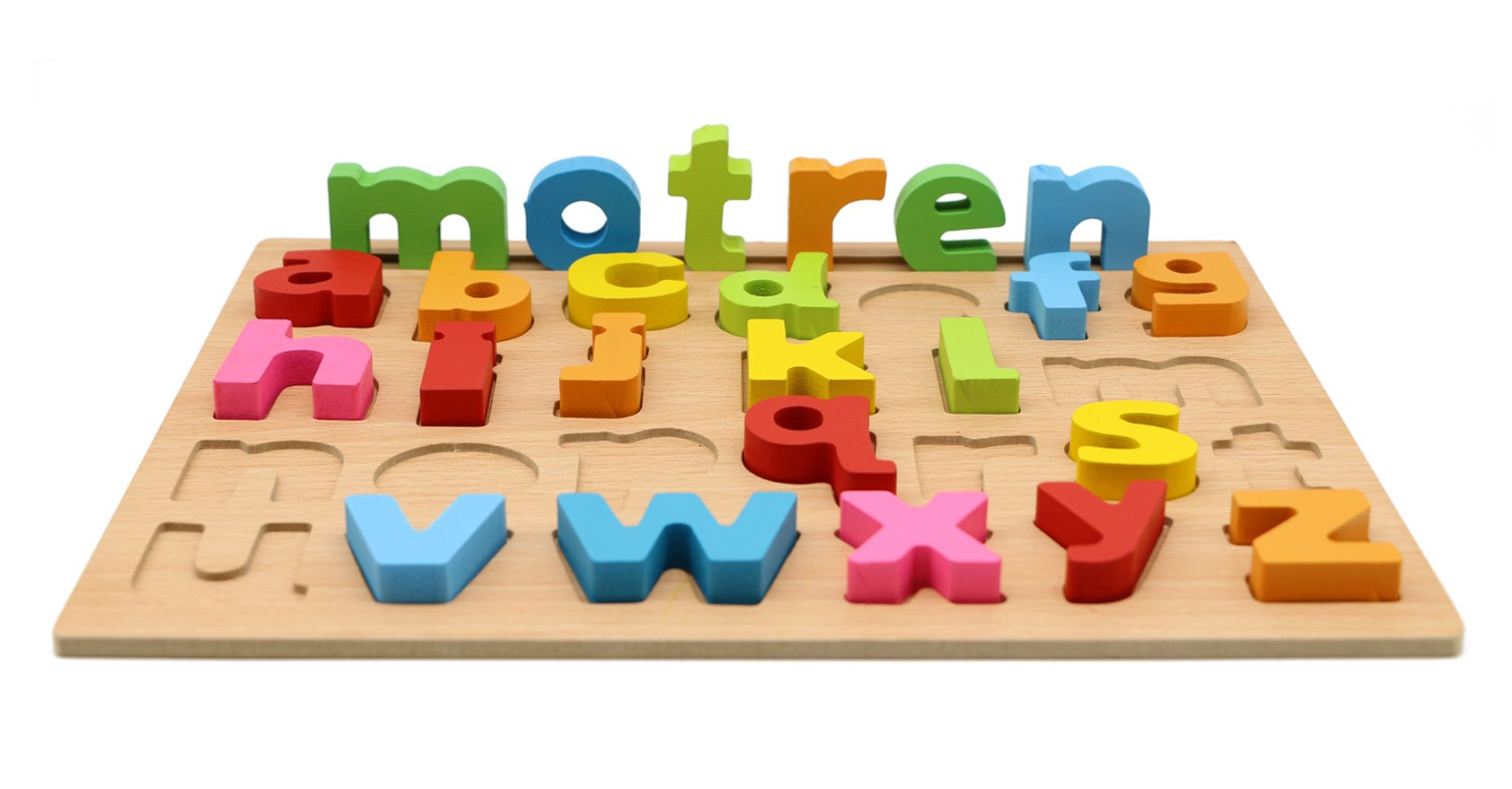 Motrent Wooden Lowercase Alphabet Puzzle Board Toy for Kids
