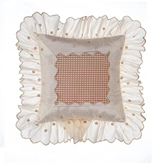 product image for Glenna Jean Maddie Pillow, Mocha Dot with Ruffle
