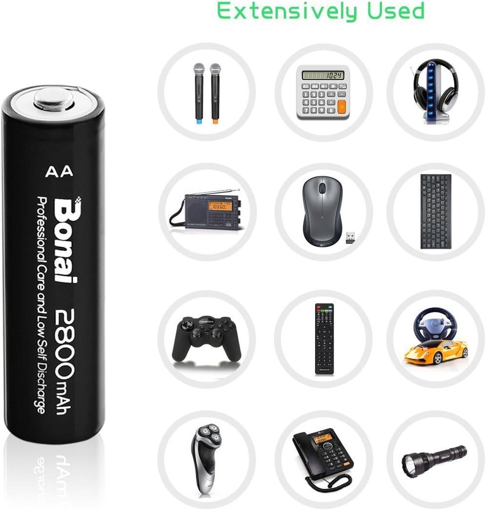 UL Certificate Bonai 4 Packs 2800mAh AA Rechargeable Batteries 1.2V Ni-MH Low Self Discharge