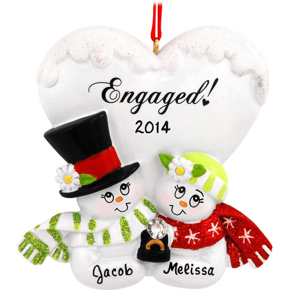 Amazon.com: Personalized Engaged Couple Christmas Holiday Gift ...