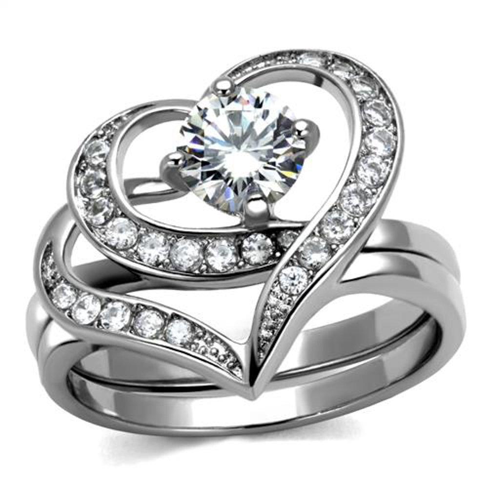 Women's 1.2 Ct Round Cut Cz 2 Piece Heart Shape Stainless Steel Wedding Ring Set Size 7