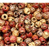 100pc 12mm Painted Pattern Barrel Wooden Beads Beading Supplies