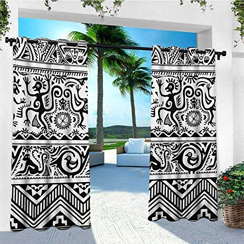 leinuoyi Ethnic, Outdoor Curtain Set of 2 Panels, Monkeys Birds Simplistic Animal Motifs Tribal Ornaments African Petroglyph Theme, Outdoor Privacy Porch Curtains W120 x L96 Inch Black White