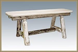 """Log Furniture - Plank Bench 45"""" Long"""