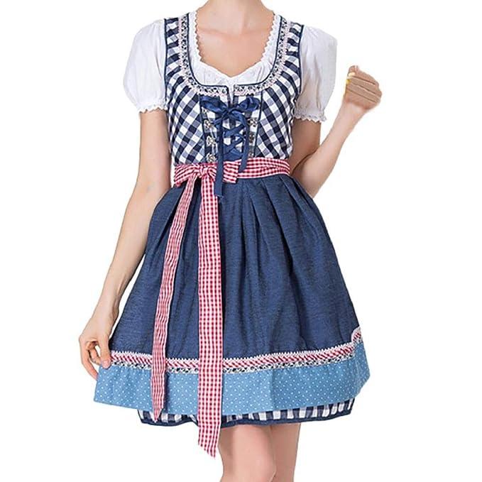 Luckycat Delantal del Vendaje de Las Mujeres Trajes de Oktoberfest bávaro Vestido de Dirndl de la