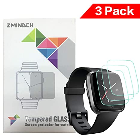 ZMINDCH compatible con Fitbit Versa Cristal Templado,Ultrafino HD,Resistente al Aceite Fácil de