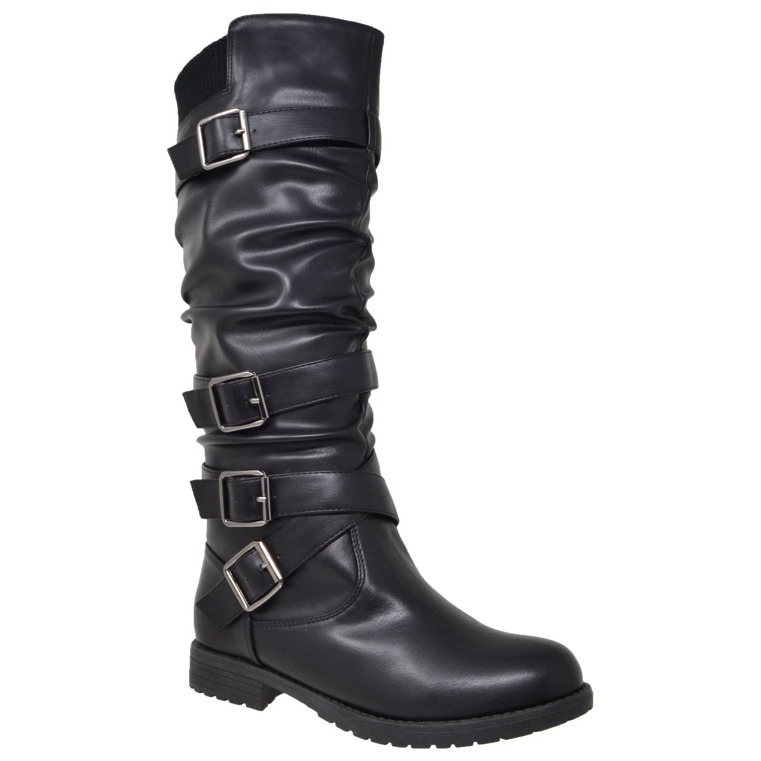 Generation Y Womens Knee High Boots Block Heel Strappy Slouchy Faux Leather Adjustable Buckles Black SZ 8.5