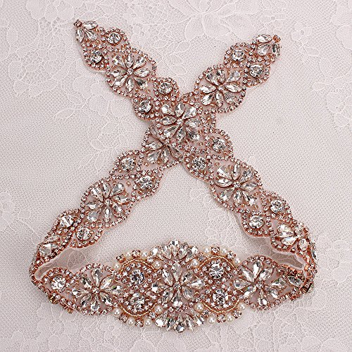 Hot Fix Handmade Rose Gold Bridal Dress Sash Crystal Applique with Clear Rhinestones and Pearls DIY Sewing or Iron on–1 Piece(23.42in)