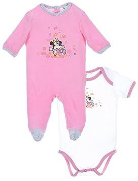 f2d6a6bd22904 Coffret cadeau Pyjama et body bébé fille Minnie Blanc rose de 0 à 6mois (