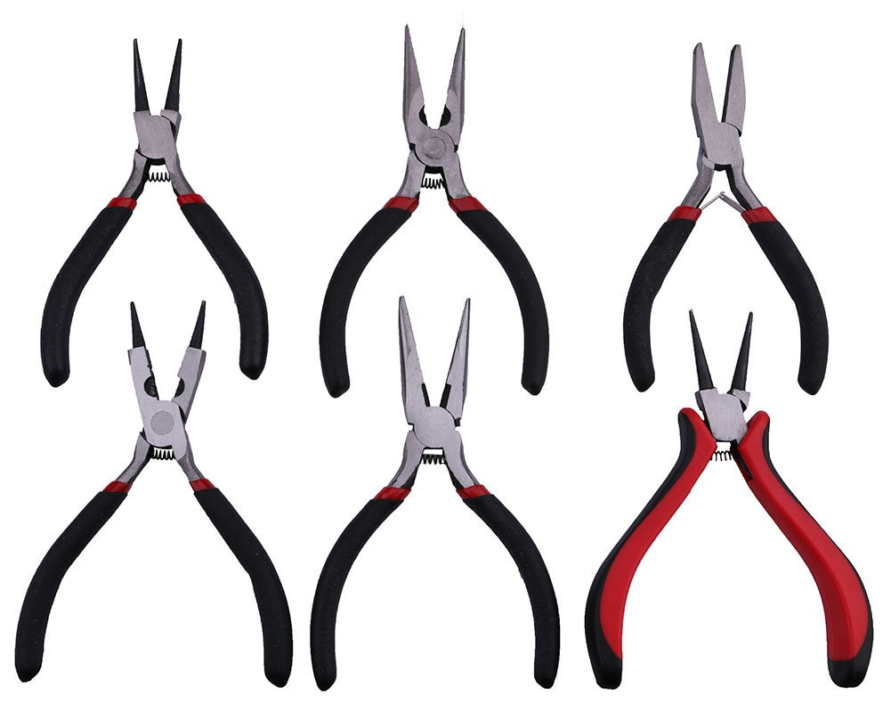 Yeeco 5-Piece Mini Plier Set, Needle Nose/ Round Nose/ Oval Head Cutter Diagonal Nose/ Curved Bend/ Flat Jaw Pliers Precision Wire Plier Repair DIY Jewelry Craft Tool with Spring & Non-Slip Handle B1700516