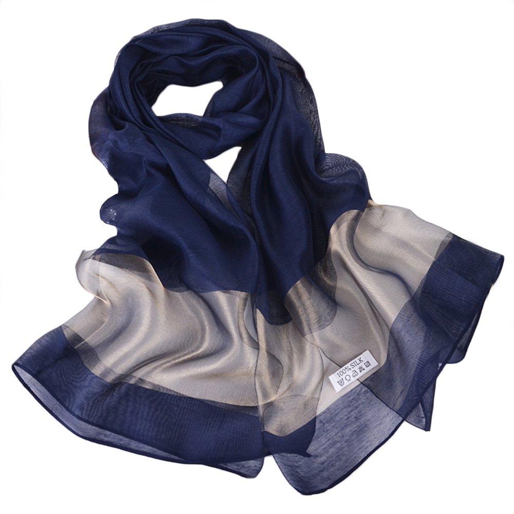 YEX Women Scarves Satin Silk Cotton Long Lightweight Sunscreen Shawls Scarf for Women 27 x 78 inches (Navy Blue)