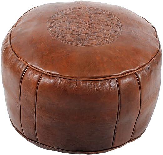 albena Marokko Galerie 30 114 Tabaa orientalisches Sitzkissen Leder D 50cm H 30cm (braun)