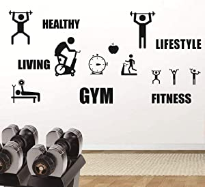 Home Healthy Life Gym Wall Sticker,Motivation Fitness Sports Lifestyle Decor Sticker for Living Room Boys Room, Removable Wall Mural AM171 (Black)