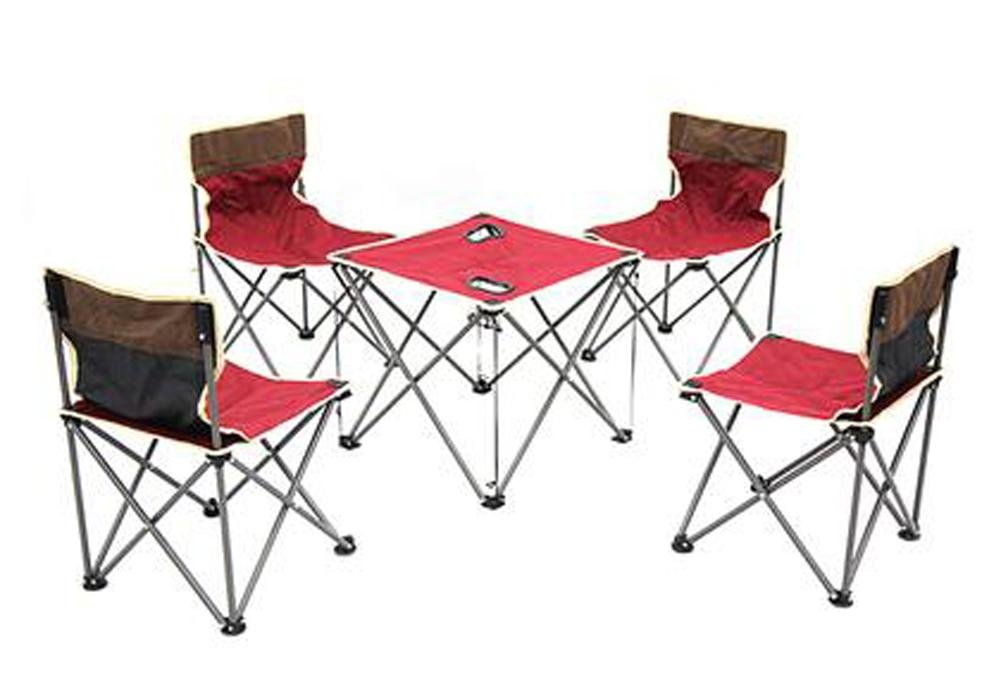 Portable Outdoor Table and Chair Furniture Set , red