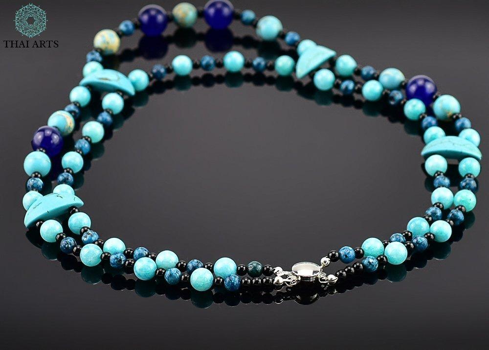 """Kette f/ür Frauen Korallenkette aus Handarbeit Handgefertigte Perlenkette aus Thailand Halskette /""""Far S/"""" exklusiver Schmuck mit Perlen f/ür Frauen mit Stil"""