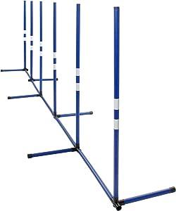 MiMu Agility Training Poles - Backyard Dog Agility Equipment Weaving Poles Outdoor and Indoor Dog Agility Course Kit