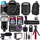 Holiday Saving Bundle for D810 DSLR Camera + 18-140mm VR Lens + Flash with LCD Display + Battery Grip + Shotgun Microphone + LED Kit + 2yr Extended Warranty + 32GB Class 10 - International Version