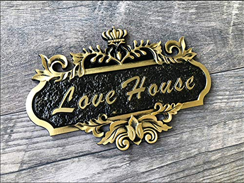 Zzooi Custom European Style Retro House Address Plaque Personalized Anaglyptic Address Sign No Drilling Self ()