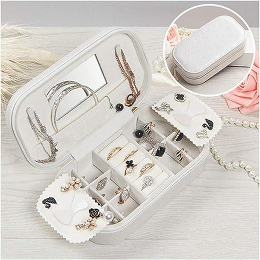 ZBSSH Organizador de Joyas, Caja de Joyas de Mujer para Collares, Caja de Almacenamiento para la Joyería, Cuero de PU,Blanco: Amazon.es: Hogar
