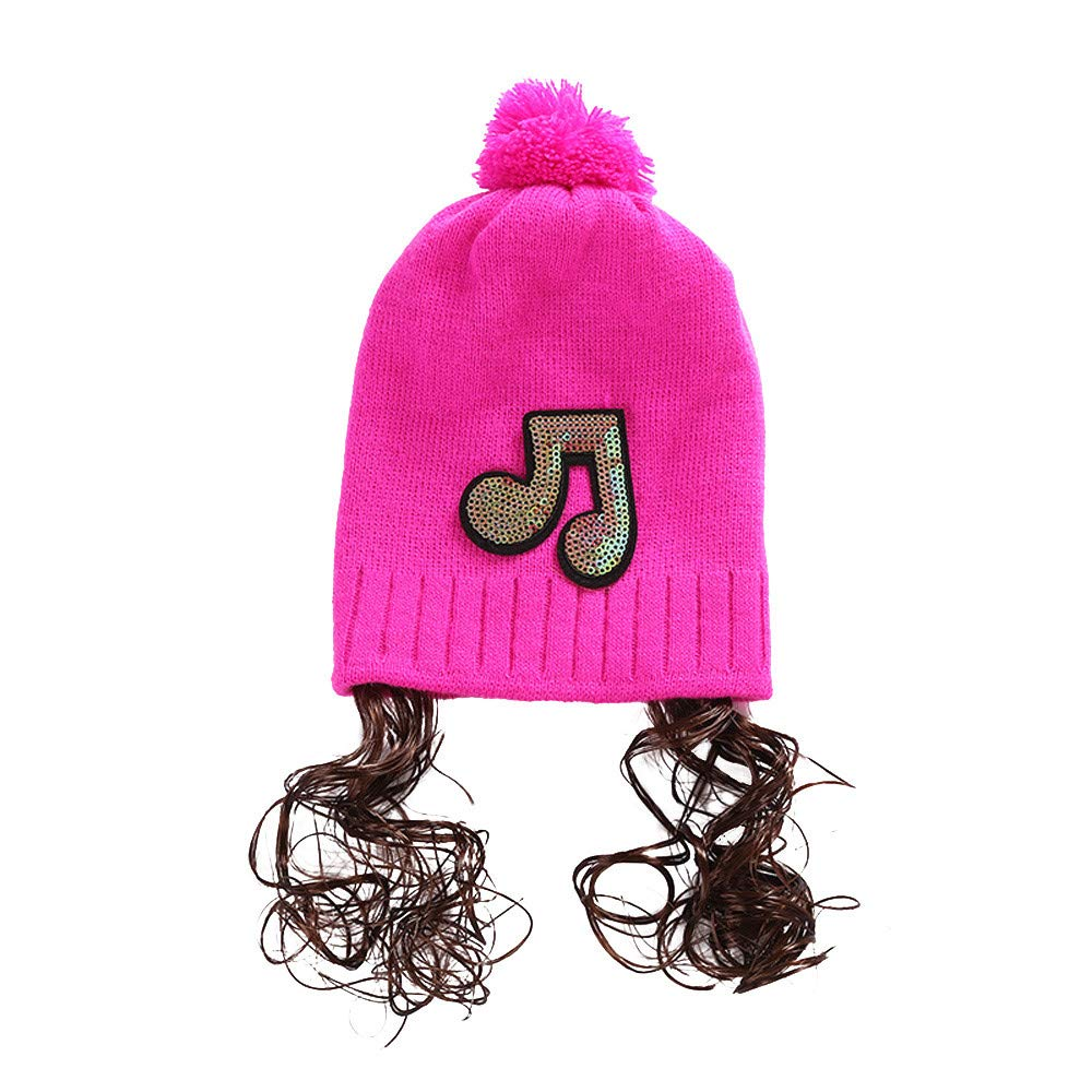 Clearance! Beanie Hat For Baby Girls, Fashion Sequin Music Labeling Wig Cotton Knit Hats Knit Crochet Caps(Hot Pink, Free)
