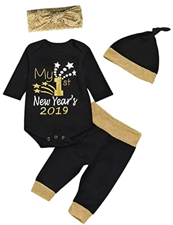 82fe45b8e914f Amazon.com: 4Pcs Outfit Set Baby Boy Girl My First New Year Romper: Clothing