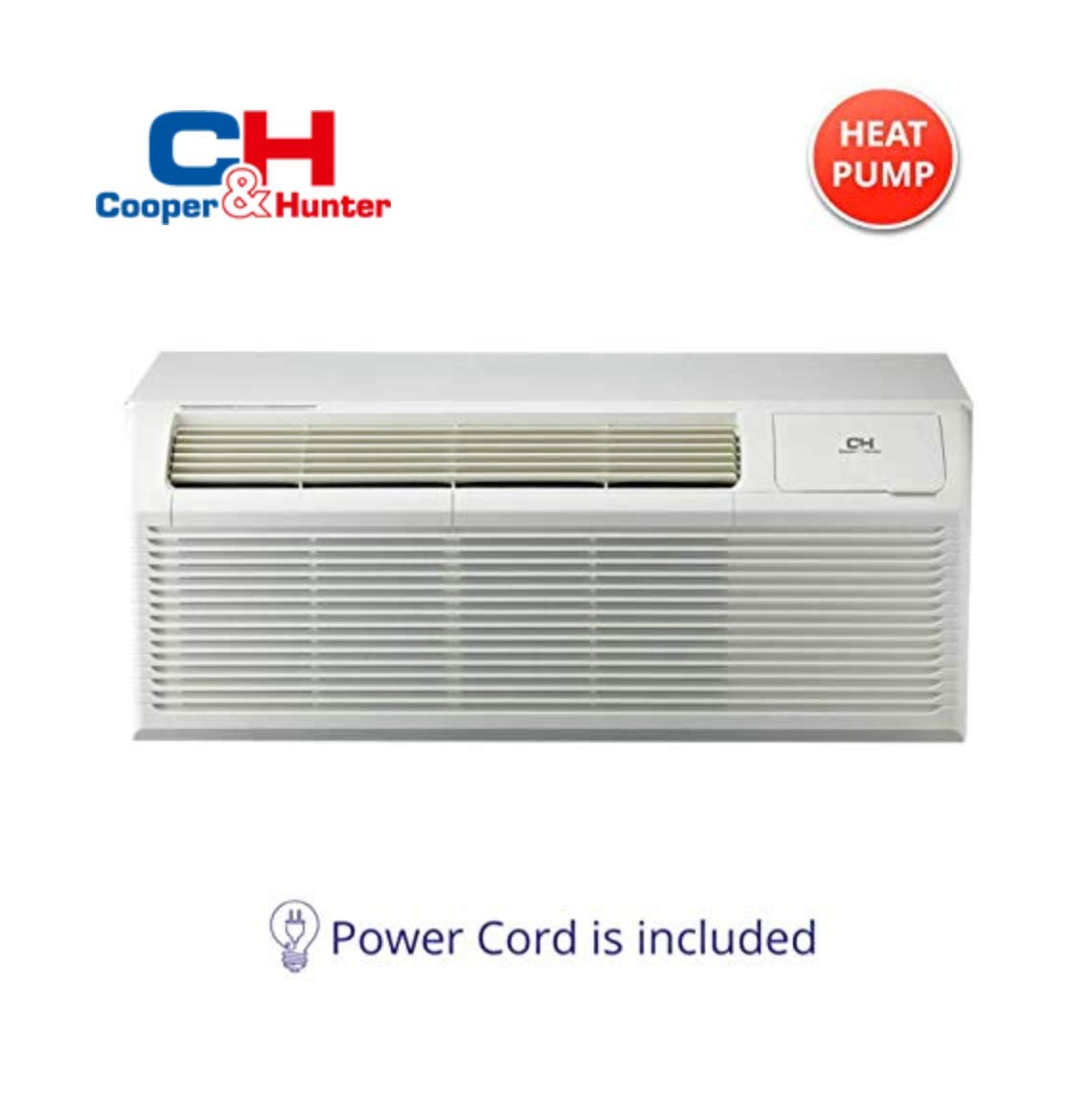 COOPER AND HUNTER 12,000 BTU PTAC Packaged Terminal Air Conditioner With Heat Pump PTHP Unit Heating And Cooling With Electric Cord