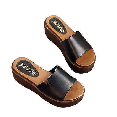 9cf2342de931 Vatiu Women s Outdoor Skidproof Platform Sandals Ladies Sandles Black 36  5.5 D(M) US