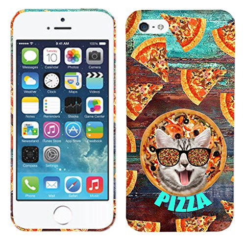 iPhone SE / 5 / 5S Case - Sliced Pizza Cat Hard Plastic Back Cover. Slim Profile Cute Printed Designer Snap on Case by Glisten