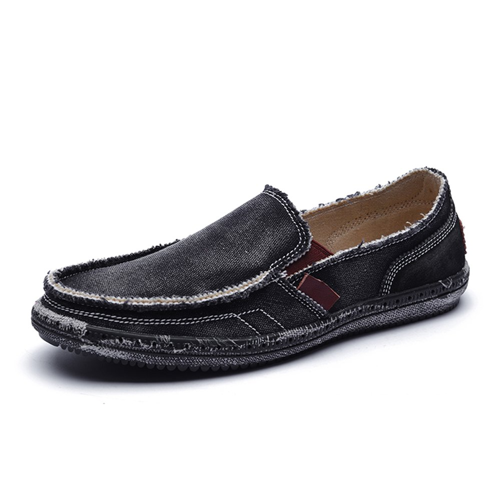 CASMAG Men's Slip-On Loafers Flat Canvas Boat Shoes for Driving Walking Weeding Outdoor Black 6.5 M US by CASMAG