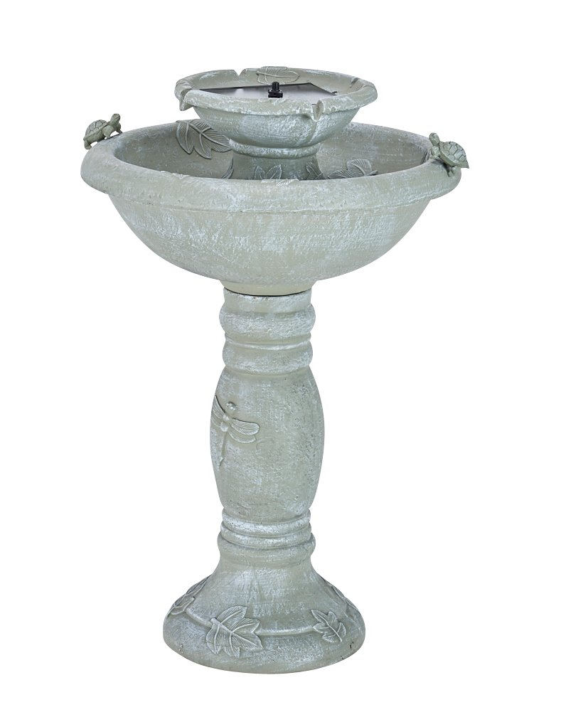Smart Solar 34222RM1 Gray Weathered Stone Country Gardens 2-Tier Solar-On-Demand Fountain, Designed For Low Maintenance and Requires No Wiring or Operating Costs by Smart Solar