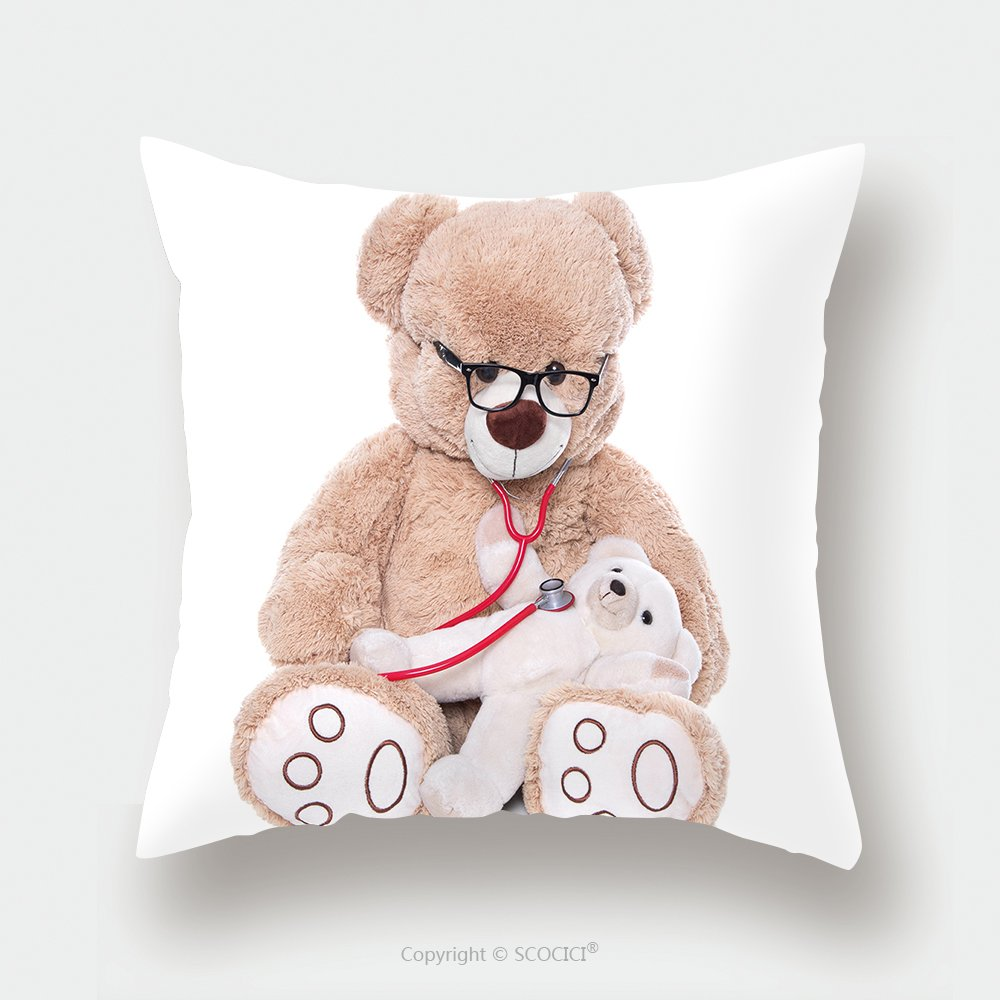 Custom Satin Pillowcase Protector Teddy Bear Doing Health Check With Stethoscope Isolated On White Background Doctor And A Teddy 158023694 Pillow Case Covers Decorative