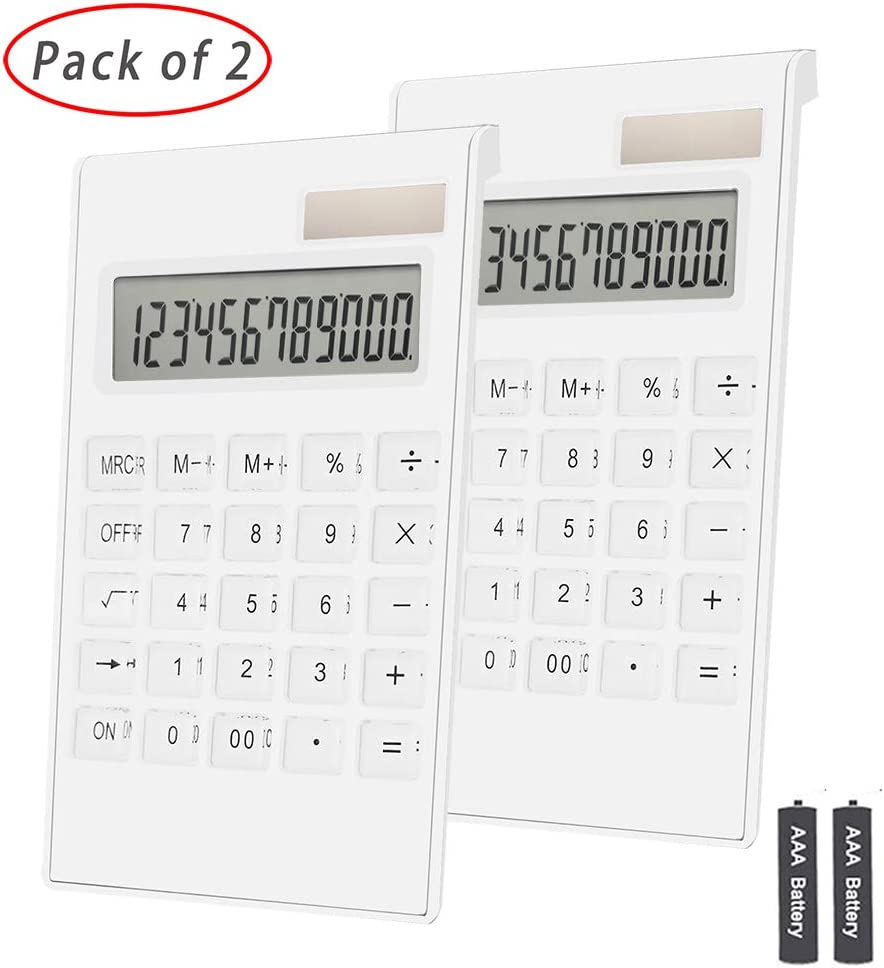 Office Calculator,BESTWYA 12-Digit Dual Power Business Handheld Desktop Calculator for Office Student (White,2 Pieces)