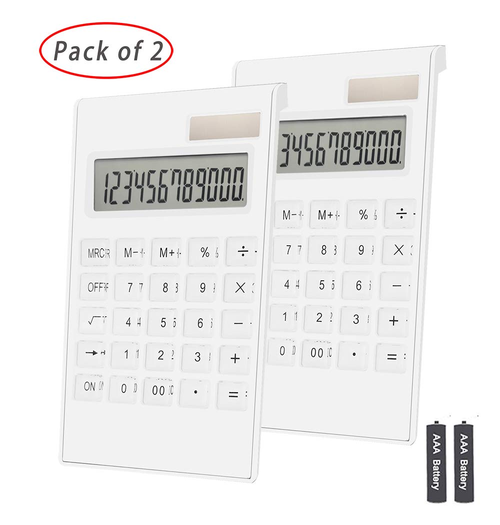 Office Calculator,BESTWYA 12-Digit Dual Power Business Handheld Desktop Calculator for Office Student (White,2 Pieces) by BESTWYA