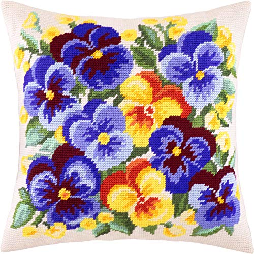 Spring Flowers. Cross Stitch Kit. Throw Pillow Case 16×16 Inches. Home Decor, DIY Embroidery Needlepoint Cushion Cover Front, Printed Tapestry Canvas, European Quality. Viola, Bouquet, Floral