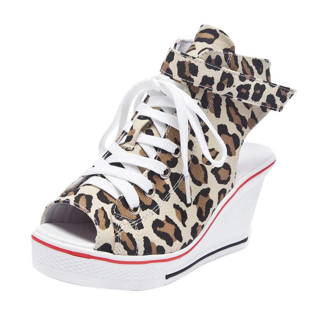 Chaussures Compensées Femmes Moonuy Femmes De La Mode Léopard Talon Haut Pompes Dames Bouche De Poisson Plate-Forme Chaussures Casual Lacet Chaussures