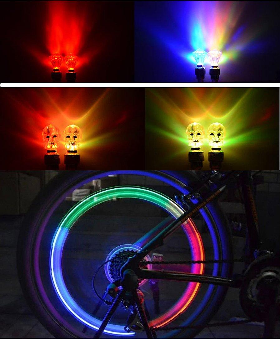Green Mumustar 2PCS Car Bicycle Bike Wheel Lights Spoke Valve Caps LED Light Lamp Neon Safety Tyre Tire Lights Auto Accessories