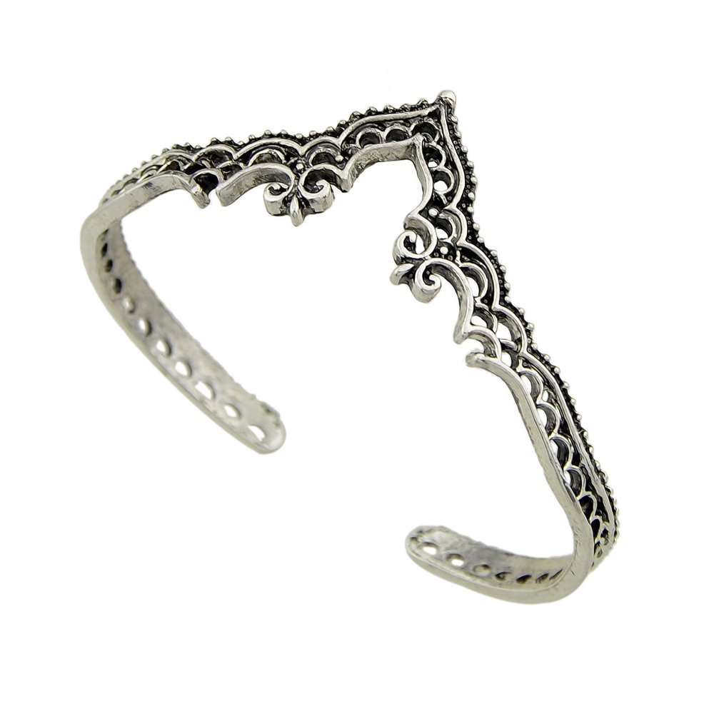 Feelontop® Open Cuff Bangle Retro Vintage Antique Silver V Shape Statement Bracelet with Jewelry Pouch BR-6153
