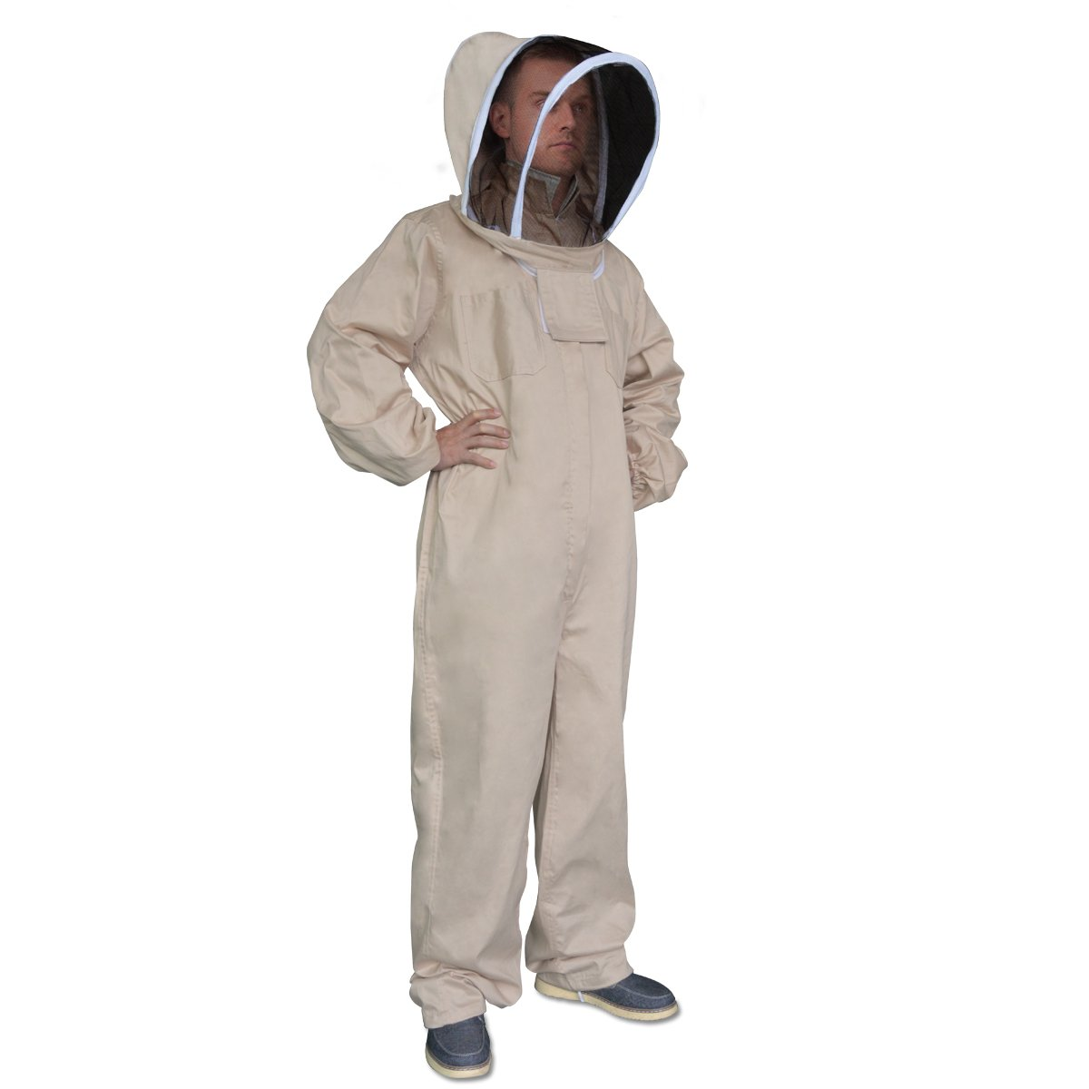New Professional Medium Cotton Full Body Beekeeping Bee Keeping Suit, with Veil Hood by Aspectek