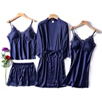 YOUTH UNION Conjunto de Pijama Sexy de 4 Piezas de la Marca para Mujer, de Seda, Satinado, con Encaje, para Primavera y Verano