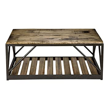 Marvelous Ethan Allen Beam Metal Base Coffee Table, Silverado