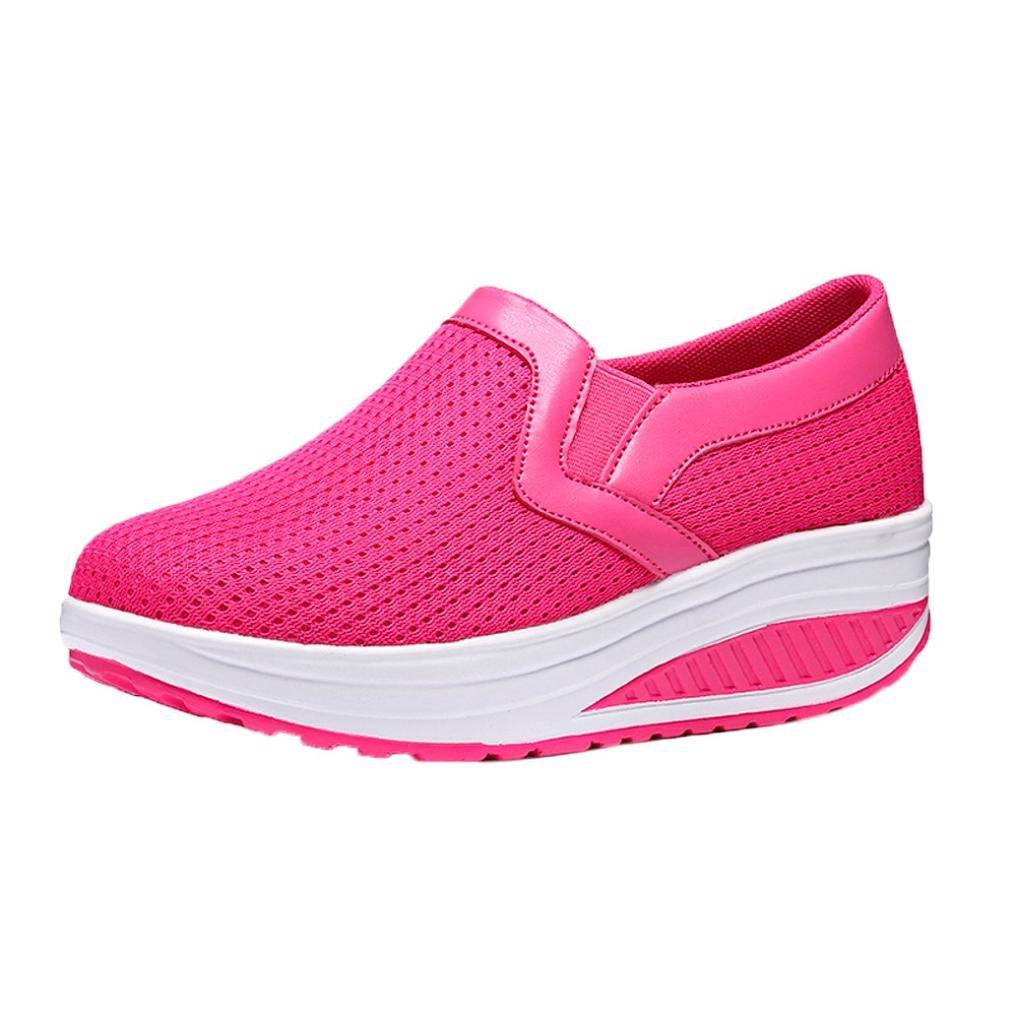 Lazzboy Damen Mode Atmungsaktive Schuhe Casual Turnschuhe Fitness Schuhe Plattform Sneaker  36 EU|Pink